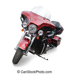 Red motor cycle. Isolated with clipping path