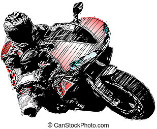 red motorcycle - sketching of the motorcycle