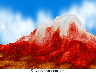 Red Mountain, 3d background, horizontal