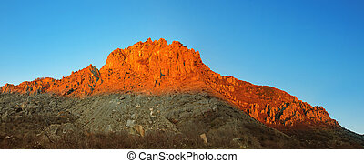 Red mountain and blue sky panorama - Panorama of the erd ...