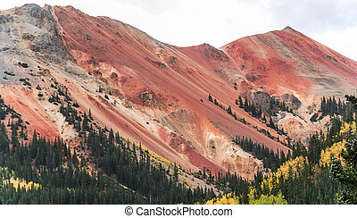 Red mountain in fall near Durango, USA.