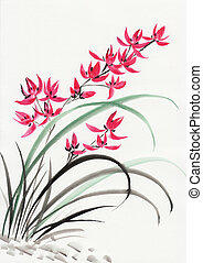 Red mountain orchids - Watercolor original art ? asian style...