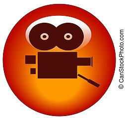 red movie camera web button or icon - vector