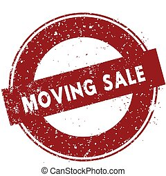 Red MOVING SALE rubber stamp illustration on white background