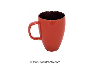 Red mug empty blank for coffee or tea isolated