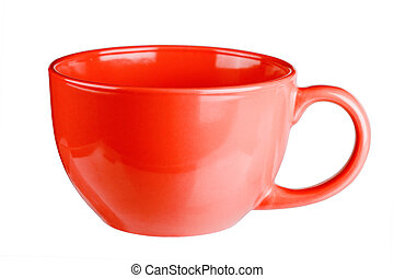 Red mug empty blank for coffee or tea isolated on white background