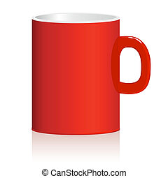 Red mug on white background. Vector.