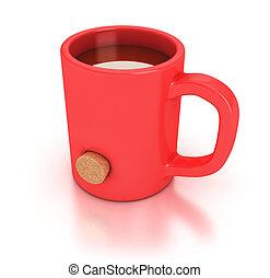 Red mug - Illustration of a red mug with an hole