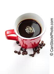 Red mug with coffee