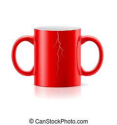 Red mug with two handles