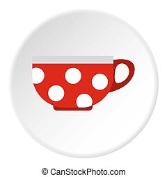 Red mug with white polka dots icon, flat style