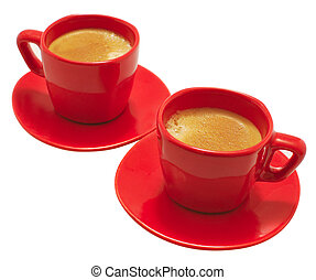 Red Mugs - Two small red coffee mugs with espresso
