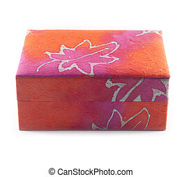 Red mulberry paper box isolation