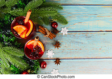 red mulled wine glasses decorated table - Christmas mulled wine delicious holiday like parties with orange cinnamon star anise spices for traditional christmas drinks winter holidays