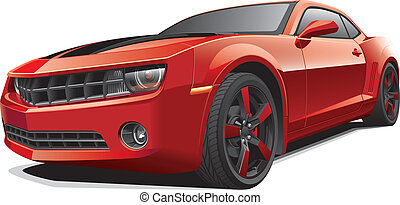 Detail vector image of red modern pony car with black racing stripes, isolated on white background. File contains gradients. No blends and strokes. Easily edit: file is divided into logical layers and groups.