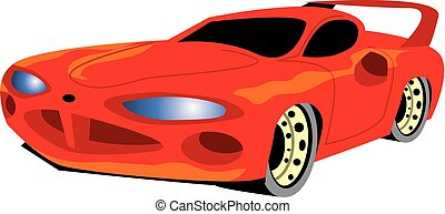Red muscle car. Vector image