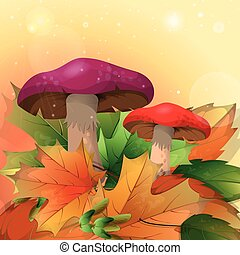 Red mushrooms and autumn leaves on a light background. Vector