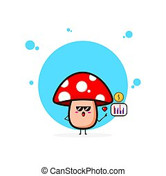 Red mushrooms love data coin cute character illustration