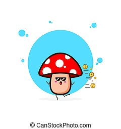 Red mushrooms run with coin cute character illustration