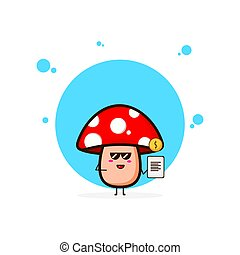 Red mushrooms with data coin cute character illustration
