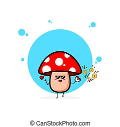Red mushrooms with magnet coin cute character illustration