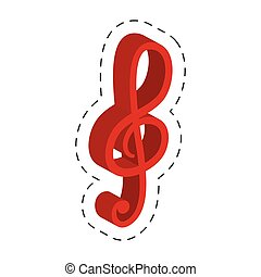 red music note cut line