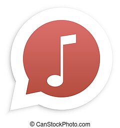 Red Music Note in speech bubble icon Vector