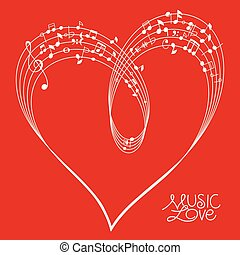 Red Musical Heart Shape