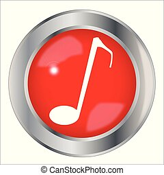 Red Musical Note Button