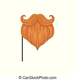 Red mustaches and beard, masquerade decorative element cartoon vector Illustration on a white background