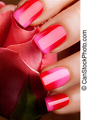Red nail polish.
