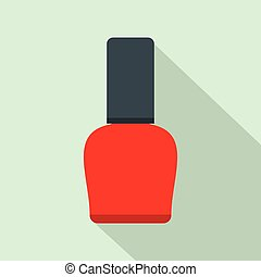 Red nail polish bottle flat icon on a light blue background