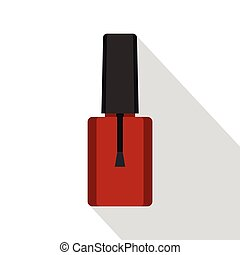 Red nail polish bottle icon, flat style - Red nail polish...