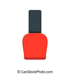 Red nail polish bottle icon in flat style isolated on white...