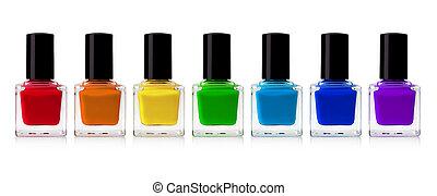 nail polish - red nail polish bottle on white background