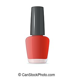 Red Nail Polish Bottle on White Background. Vector