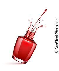 red nail polish bottle with splash isolated on white