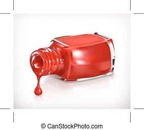 Red nail polish,  icon, isolated on white background