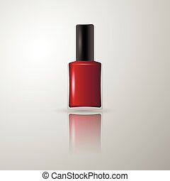 Red nail polish in a glass bottle