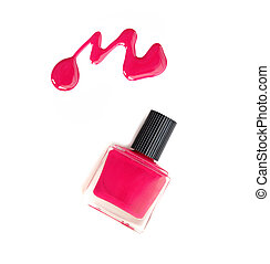 Red nail polish on a white background with space for text