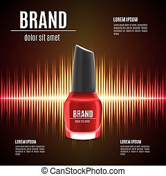 Red nail polish template. Nail polish product in glass...