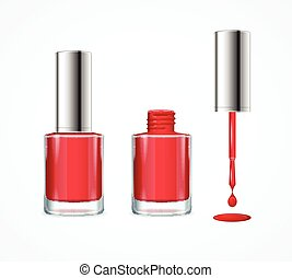 Red Nail Polish. Vector - Red Nail Polish. Open, Closed...
