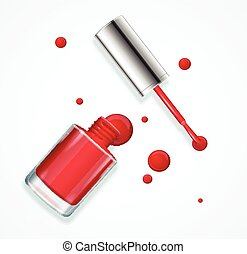 Red Nail Polish. Vector - Red Nail Polish in Glass Bottle...