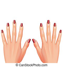 Red nails manicure isolated on white vector illustration