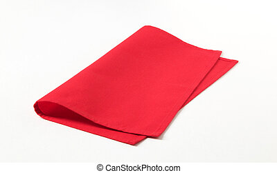 Small red napkin on white background - closeup
