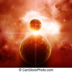 Red Nebula with Planets and rising Star