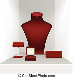 Red Necklace Earrings and Bracelet Stand for jewelry with Box