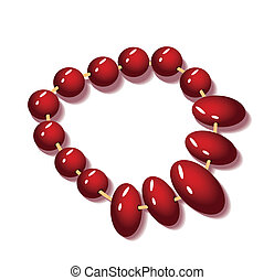 Red necklace on a white background
