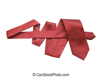 Red Necktie On White