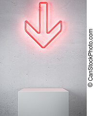 Red Neon arrow in interior